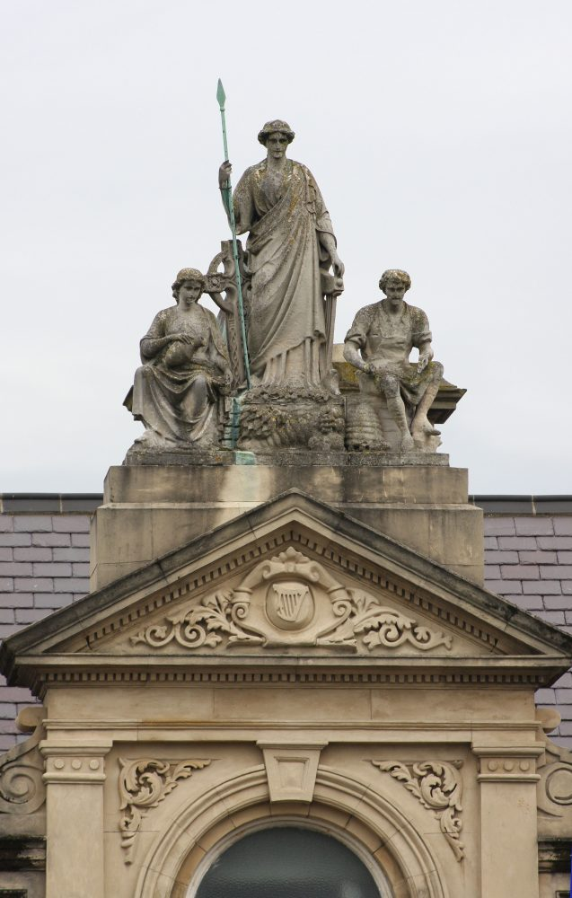 Temperance Statues On Irish Building Of St Columb's Hall Londonderry Northern Ireland